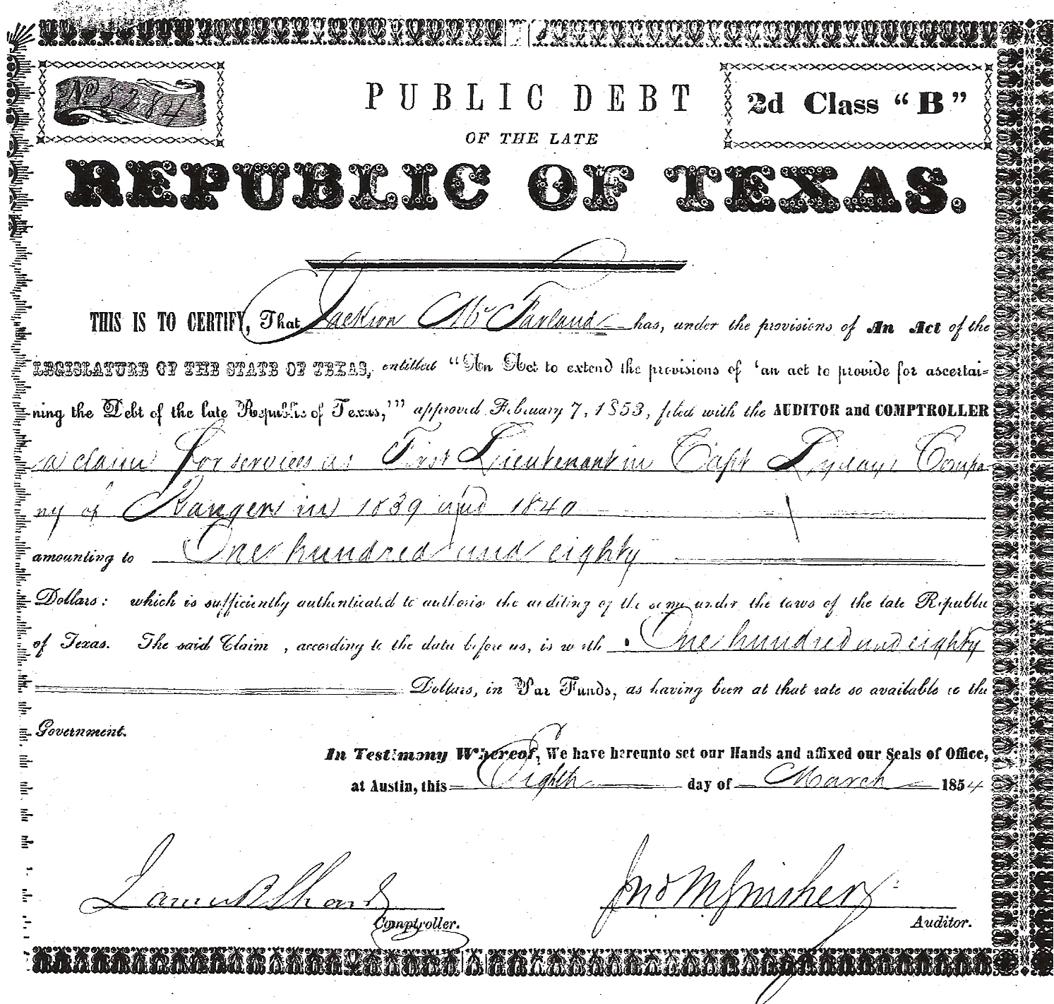 Ch 6 mcfarlands in texas genealogical histories genealogy ch 6 jackson mcf rep of texas service certificates aiddatafo Gallery